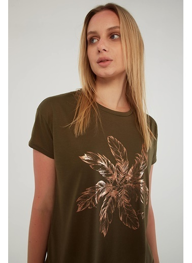 Fashion Friends Varak Baskılı T-Shirt Haki Haki